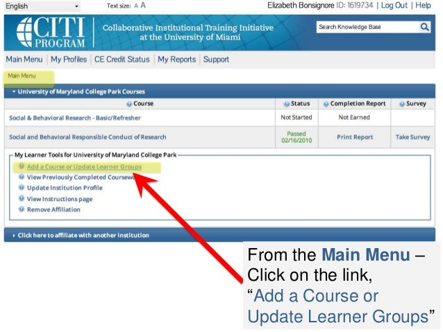 "From the Main Menu – Click on the link, ""Add a Course or Update Learner Groups"""