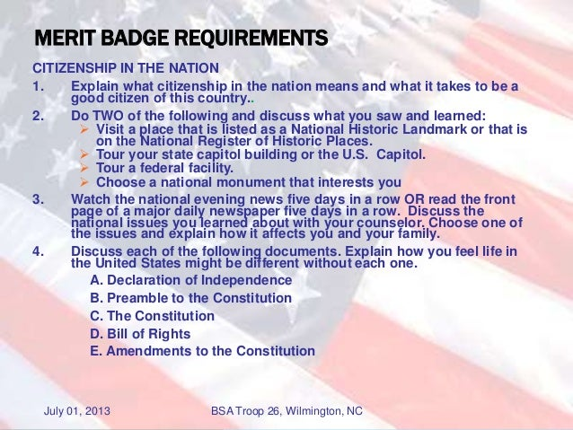 Citizen in the Nation Merit Badge Troop 26 July 2013 – Citizenship in the Nation Merit Badge Worksheet