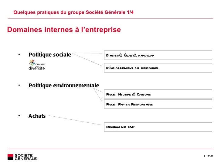 Quelques pratiques du groupe Société Générale 1/4 P. <ul><ul><li>Domaines internes à l 'entreprise </li></ul></ul><ul><ul>...