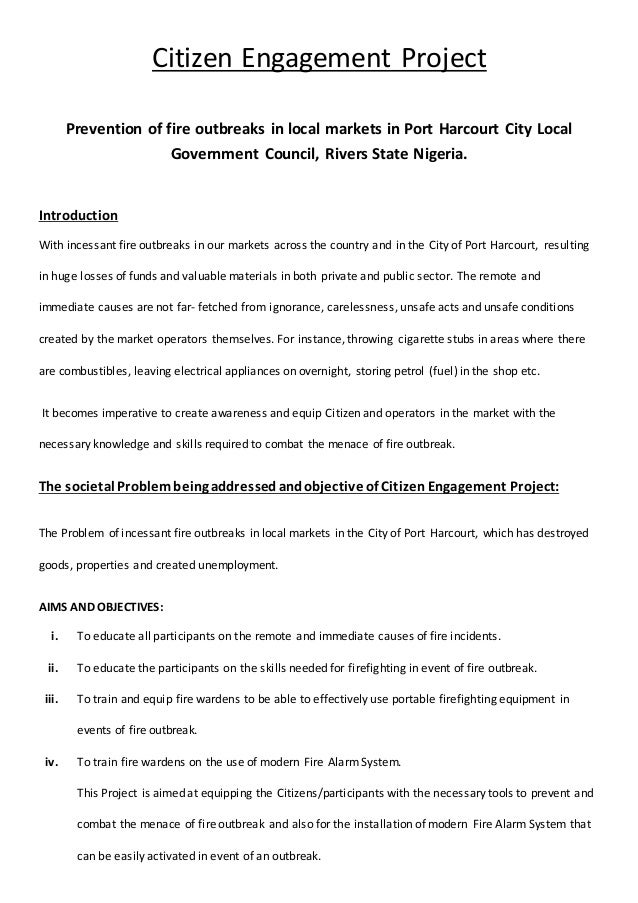 Citizen Engagement Project Prevention of fire outbreaks in local markets in Port Harcourt City Local Government Council, R...