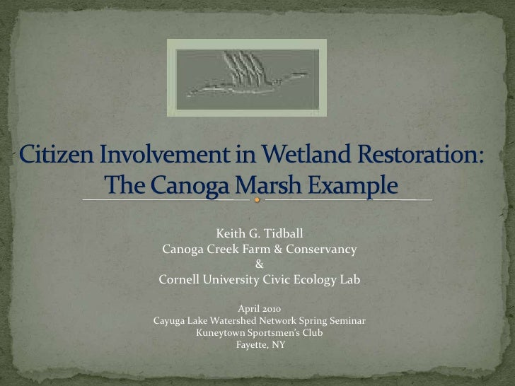 Citizen Involvement in Wetland Restoration: The Canoga Marsh Example<br />Keith G. Tidball<br />Canoga Creek Farm & Conser...