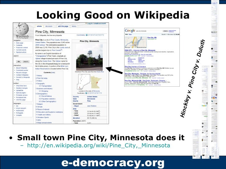 Looking Good on Wikipedia <ul><li>Small town Pine City, Minnesota does it </li></ul><ul><ul><li>http://en.wikipedia.org/wi...