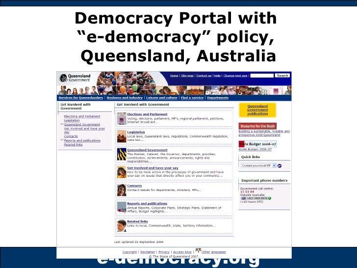 "Democracy Portal with  ""e-democracy"" policy,  Queensland, Australia"