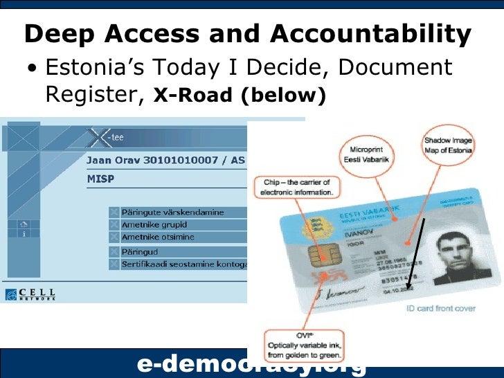 Deep Access and Accountability <ul><li>Estonia's Today I Decide, Document Register,  X-Road (below) </li></ul>