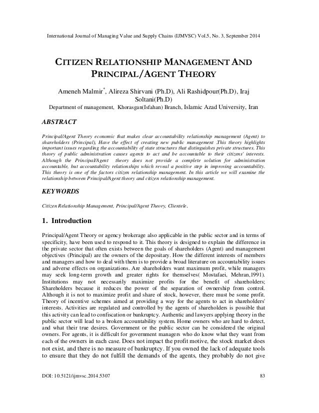 principal vs agency relationship manager
