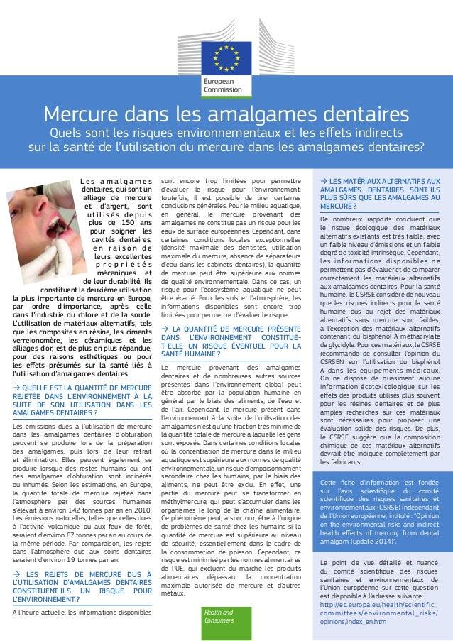 Health and Consumers Mercure dans les amalgames dentaires Quels sont les risques environnementaux et les effets indirects ...