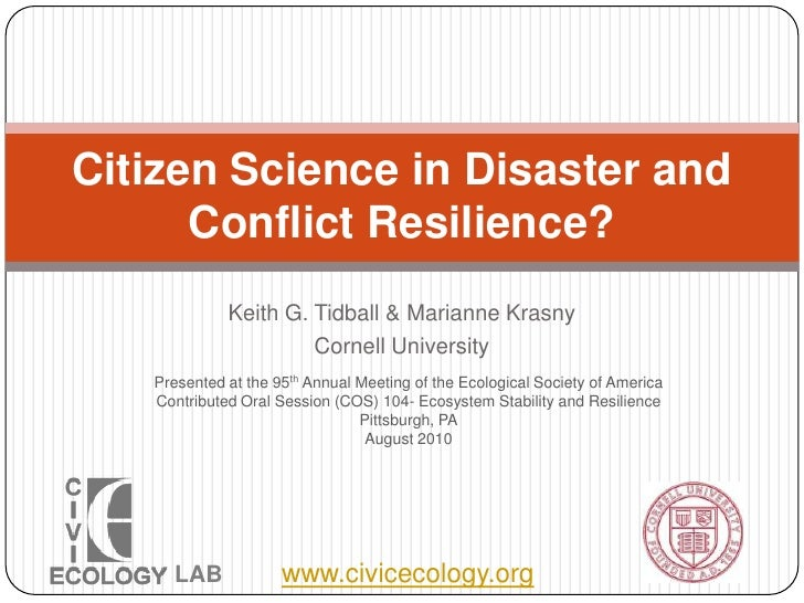 Citizen science in disaster and conflict resilience  esa 2010