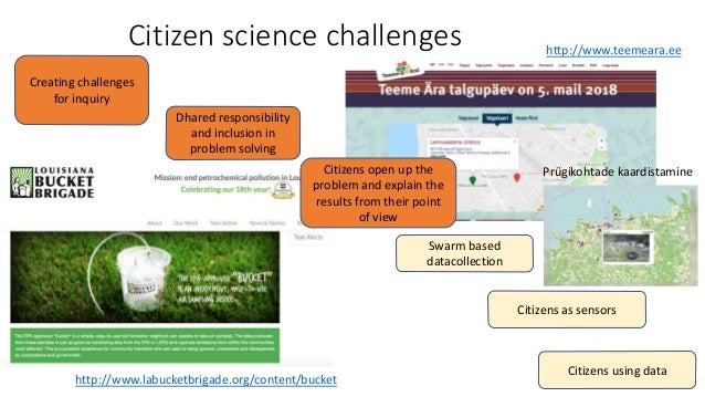 Citizen science challenges Dhared responsibility and inclusion in problem solving Swarm based datacollection Citizens usin...