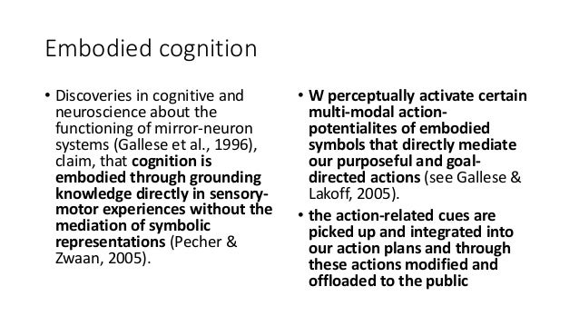 Embodied cognition • Discoveries in cognitive and neuroscience about the functioning of mirror-neuron systems (Gallese et ...