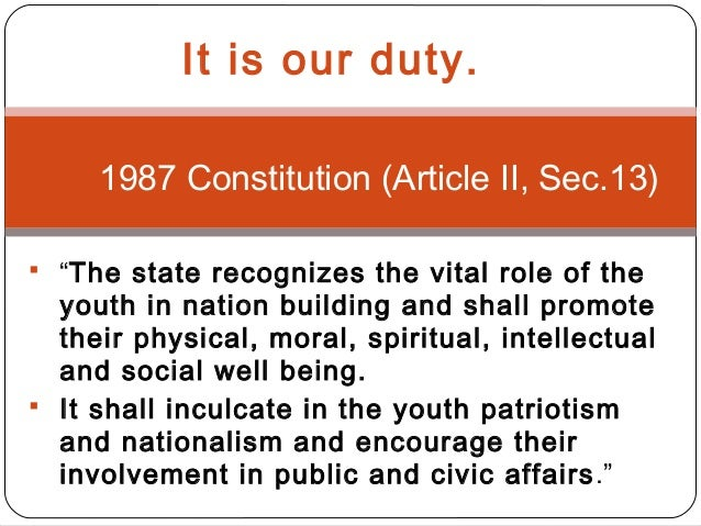 the role of youth in nation Young people in any state represent the hereafter of that state they have a critical function to play in the development of the state a responsibility they must execute.