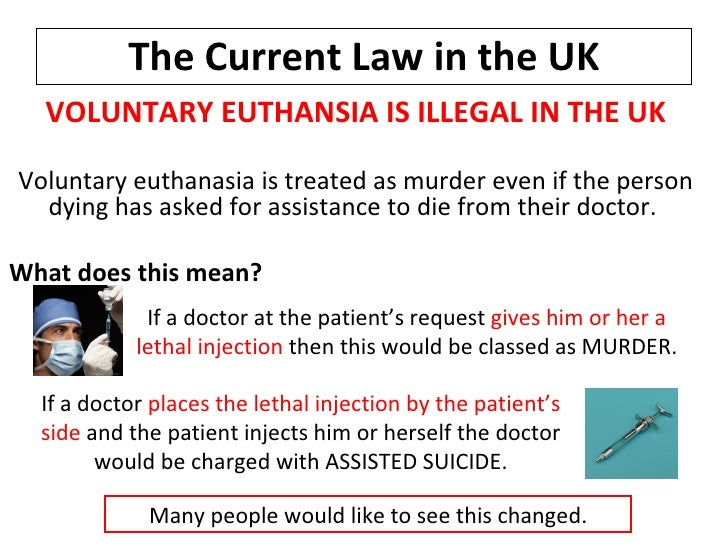 should voluntary active euthanasia be legalized More laws would be made on the different distinctions of euthanasia, voluntary, involuntary, nonvoluntary and passive or active euthanasia assisted suicide would also need laws to regulate it through my research i found three types of consent for euthanasia.
