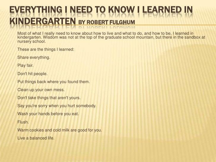 everything i learned in kindergarten
