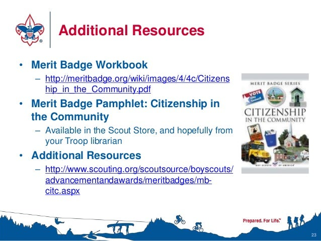 Citizenship in the Community Merit Badge Class Instructor Presentation – Bsa Merit Badges Worksheets