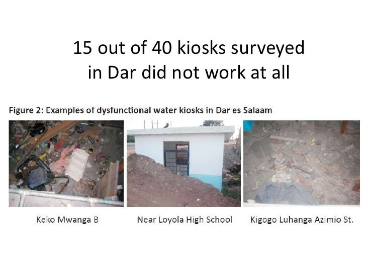 15 out of 40 kiosks surveyed in Dar did not work at all