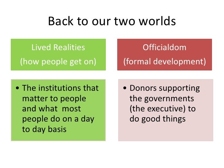Back to our two worlds    Lived Realities            Officialdom (how people get on)      (formal development)• The instit...