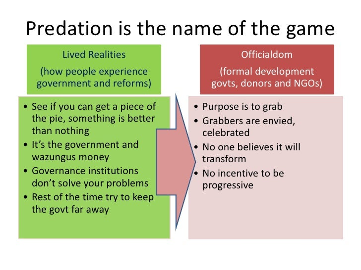 Predation is the name of the game         Lived Realities                     Officialdom    (how people experience       ...