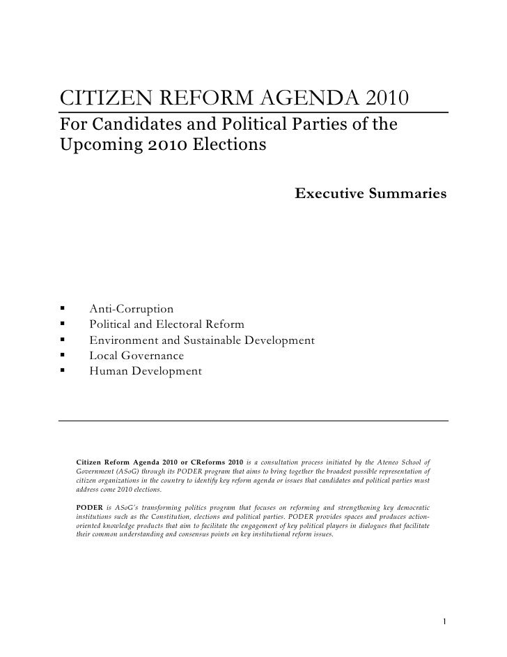 CITIZEN REFORM AGENDA 2010For Candidates and Political Parties of theUpcoming 2010 Elections                              ...