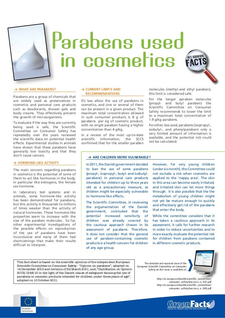 Parabens used                          in cosmetics1 What are parabens?                                             1 Curr...