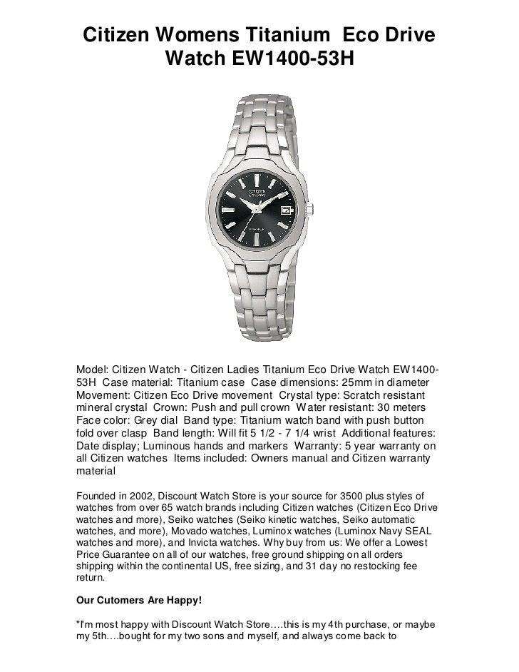 Citizen Womens H 53 Drive Free Titanium Watch Ew1400 Eco 5L4j3AR