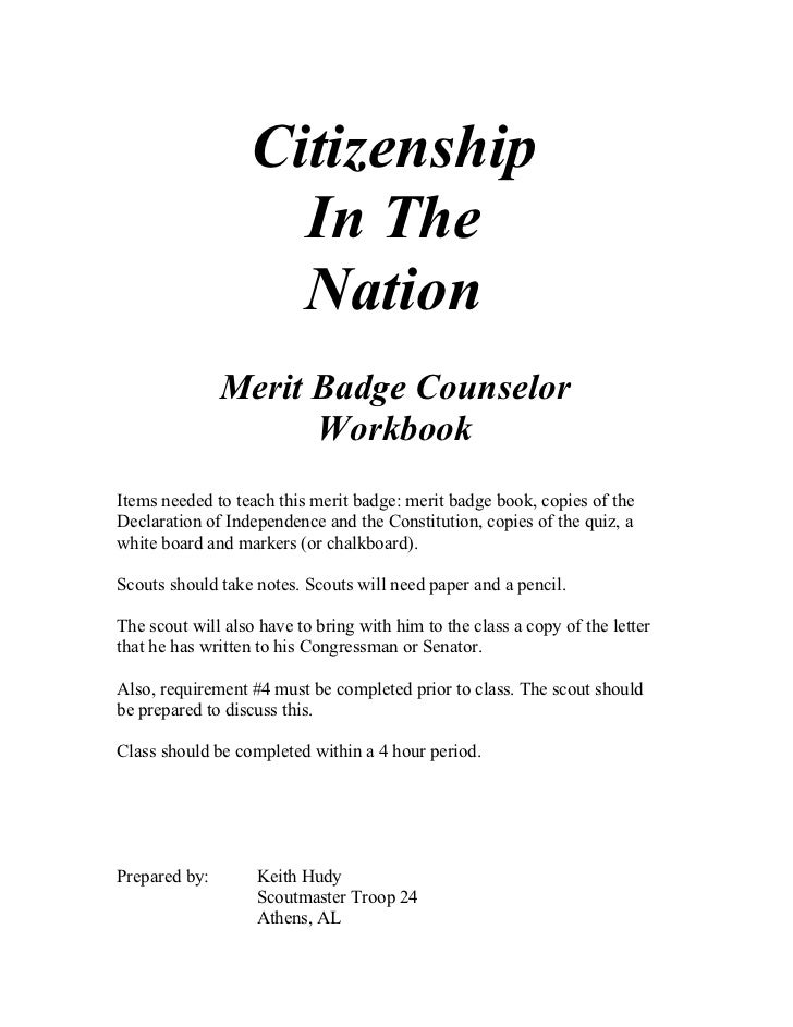 Citizenship                     In The                     Nation               Merit Badge Counselor                     ...