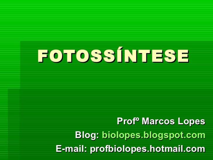 FOTOSSÍNTESE               Profº Marcos Lopes    Blog: biolopes.blogspot.com E-mail: profbiolopes.hotmail.com