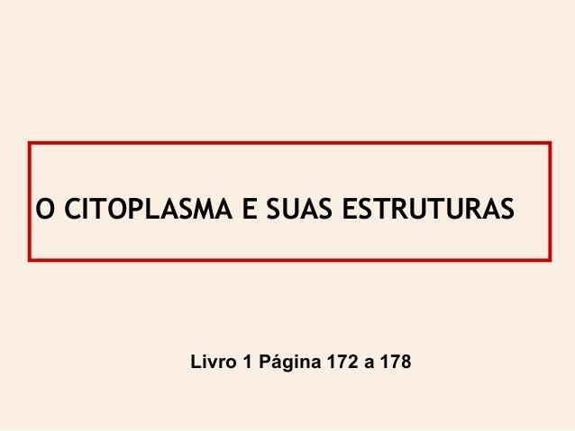 O CITOPLASMA E SUAS ESTRUTURAS Livro 1 Página 172 a 178