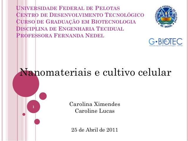 UNIVERSIDADE FEDERAL DE PELOTAS CENTRO DE DESENVOLVIMENTO TECNOLÓGICO CURSO DE GRADUAÇÃO EM BIOTECNOLOGIA DISCIPLINA DE EN...
