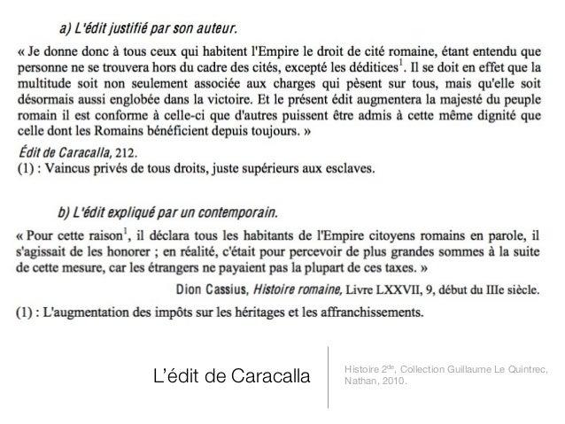 Histoire 2de, Collection Guillaume Le Quintrec,L'édit de Caracalla   Nathan, 2010.