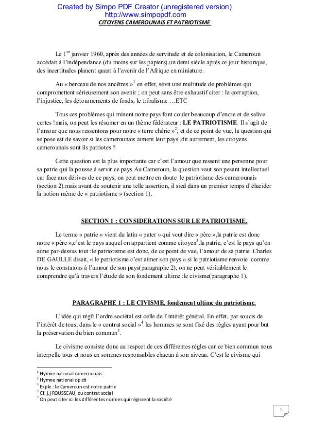 Created by Simpo PDF Creator (unregistered version)http://www.simpopdf.comCITOYENS CAMEROUNAIS ET PATRIOTISME1Le 1erjanvie...