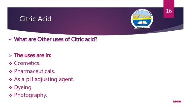 determination of citric acid Citric acid (citrate)  2 for each batch of samples that is applied to the determination of citric acid either a single point standard or a calibration.