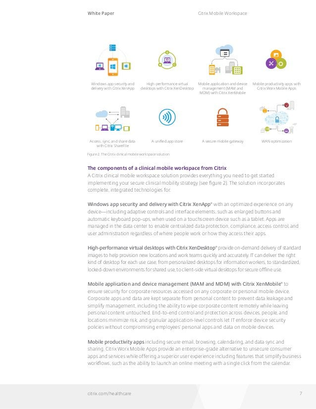 White Paper citrix.com/healthcare Citrix Mobile Workspace 7 The components of a clinical mobile workspace from Citrix A Ci...