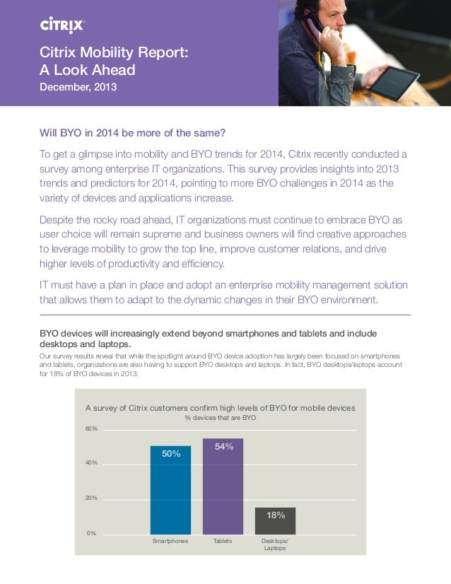 Citrix Mobility Report: A Look Ahead December, 2013  Will BYO in 2014 be more of the same? To get a glimpse into mobility ...