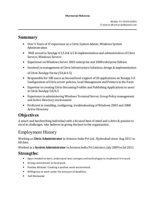 Citrix Administrator Resume