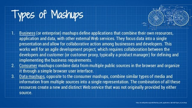 Types of Mashups  1. Business (or enterprise) mashups define applications that combine their own resources,  application a...