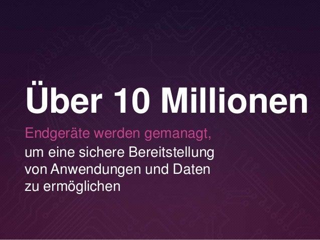 um eine sichere Bereitstellung von Anwendungen und Daten zu ermöglichen Über 10 Millionen Endgeräte werden gemanagt,