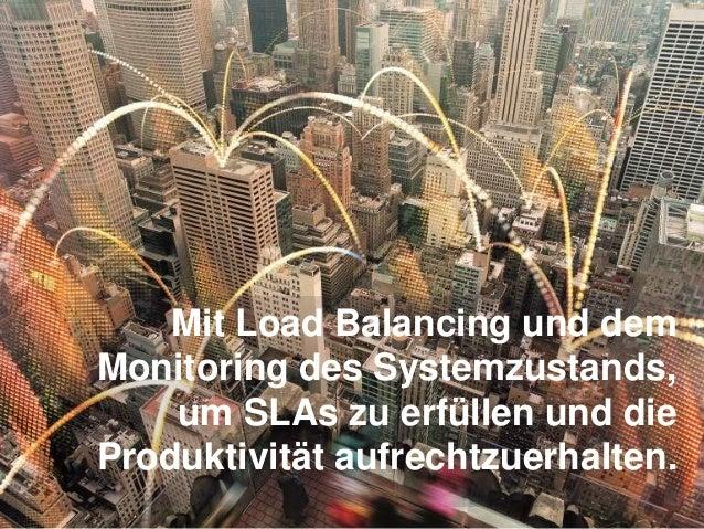 Mit Load Balancing und dem Monitoring des Systemzustands, um SLAs zu erfüllen und die Produktivität aufrechtzuerhalten.