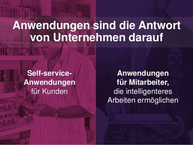 Anwendungen sind die Antwort von Unternehmen darauf Self-service- Anwendungen für Kunden Anwendungen für Mitarbeiter, die ...