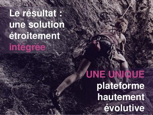 Le résultat : une solution étroitement intégrée UNE UNIQUE plateforme hautement évolutive