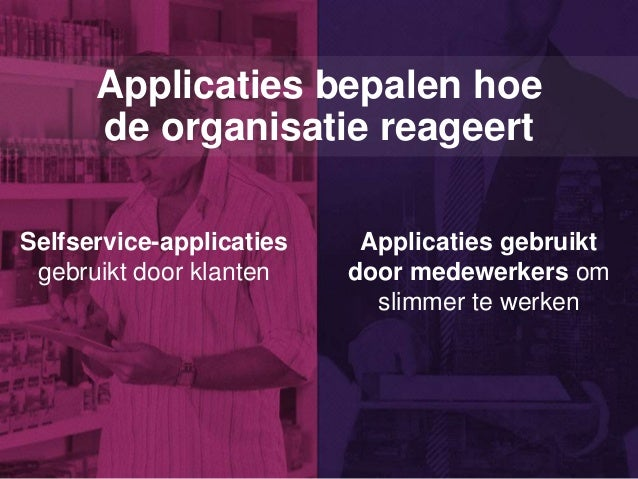 Applicaties bepalen hoe de organisatie reageert Selfservice-applicaties gebruikt door klanten Applicaties gebruikt door me...