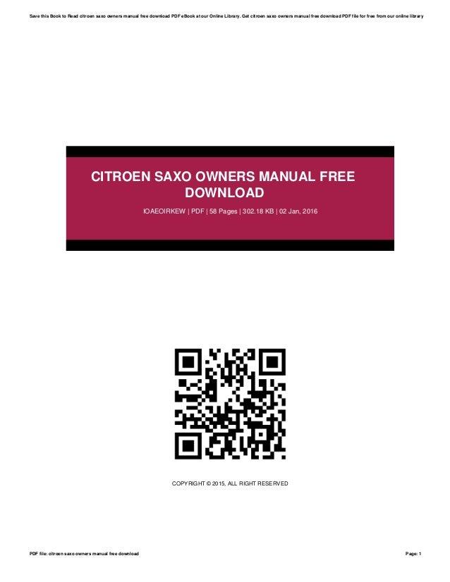 citroen saxo owners manual free download rh slideshare net citroen saxo 1.1 service manual citroen saxo 2001 service manual