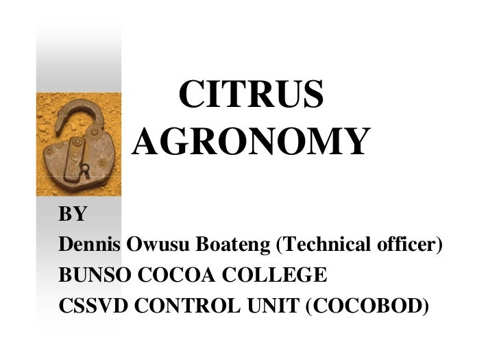 CITRUS       AGRONOMYBYDennis Owusu Boateng (Technical officer)BUNSO COCOA COLLEGECSSVD CONTROL UNIT (COCOBOD)