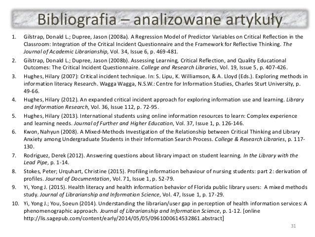 Bibliografia – analizowane artykuły 1. Gilstrap, Donald L.; Dupree, Jason (2008a). A Regression Model of Predictor Variabl...