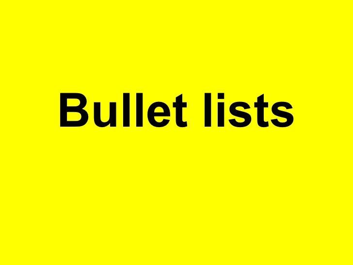 Bullet lists