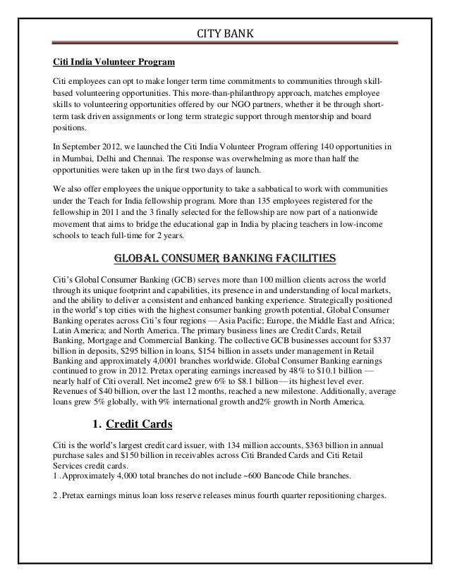 Citi Bank Project Mcom Part 1