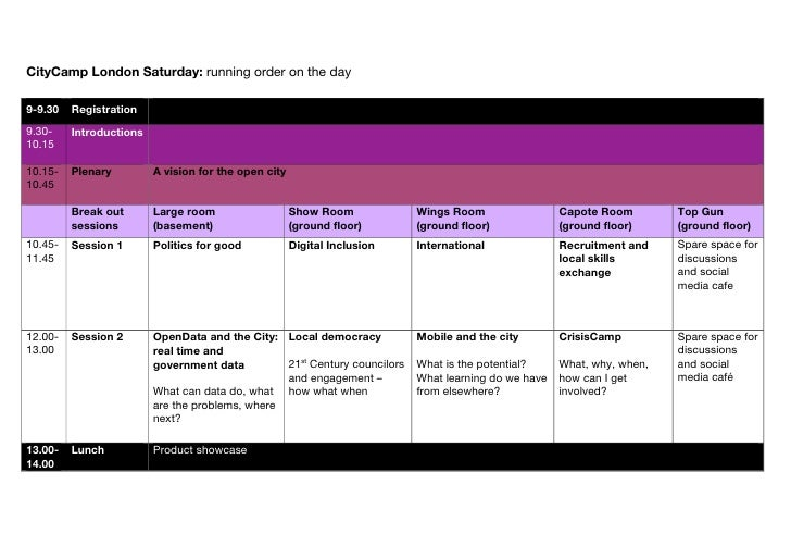 CityCamp London Saturday: running order on the day  9-9.30   Registration 9.30-    Introductions 10.15  10.15-   Plenary  ...
