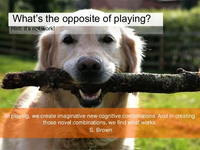 Play triggers competition and cooperation, tenacity and joy. When people are playing they take risks they would not ordina...