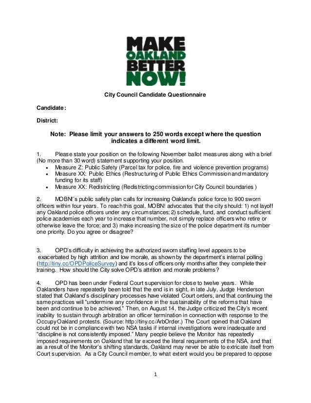 City Council Candidate Questionnaire  1  Candidate:  District:  Note: Please limit your answers to 250 words except where ...