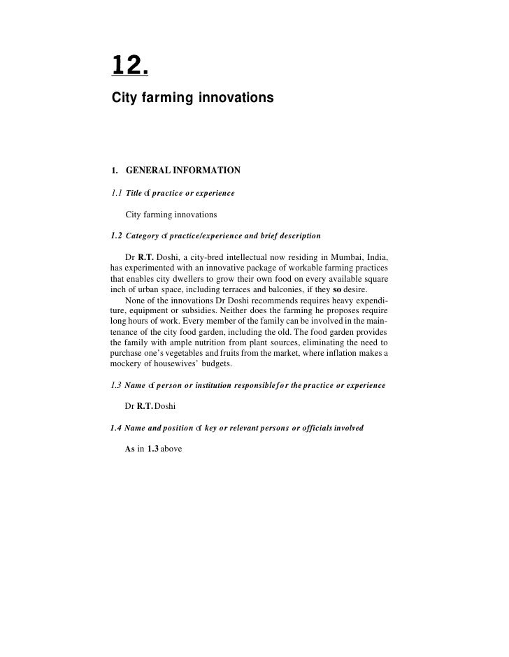 City farming innovations1. GENERAL INFORMATION1.1 Title o practice or experience           f    City farming innovations1....