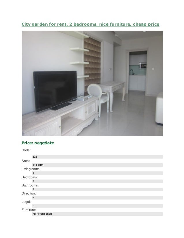 Cheap 2 Bedroom House For Rent: City Garden For Rent, 2 Bedrooms, Nice Furniture, Cheap Price