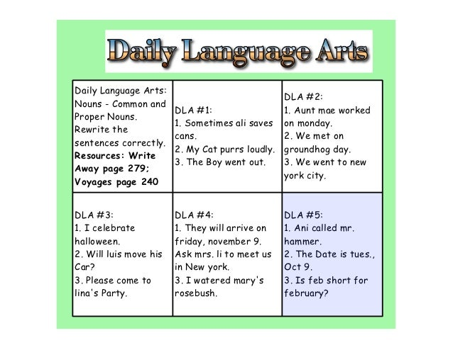 Daily Language Arts:                                                DLA #2:Nouns - Common and                        DLA #...
